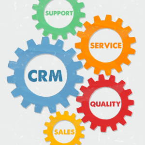 CRM, support, service, quality, sales - words in colored grunge flat design gear wheels, business concept - customer relationship management
