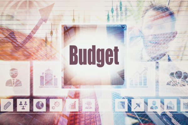 Business Budget concept button on a coloured background