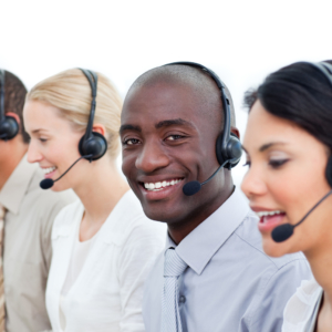 Competitive business people working in a call center in the office