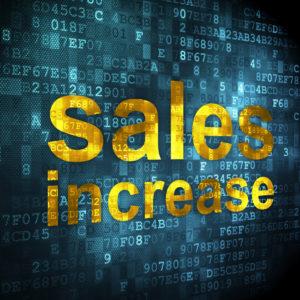 Advertising concept: pixelated words Sales Increase on digital background, 3d render