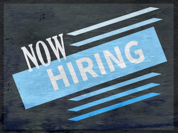 now hiring design on wood grain texture