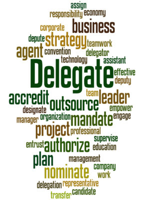 Delegate, word cloud concept on white background.