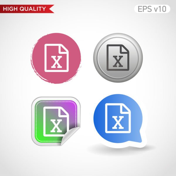 Excel file icon. Button with excel file icon. Modern UI vector.
