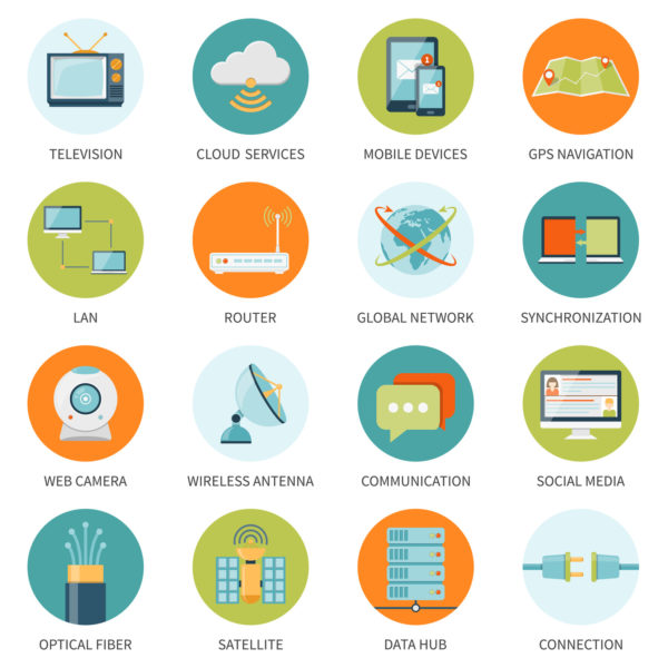 Telecommunication network connection and mobile communication icons set in isolated colored circles with annotation flat vector illustration