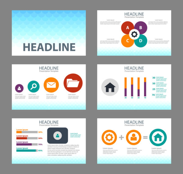 colorful business presentation template set and icon 2